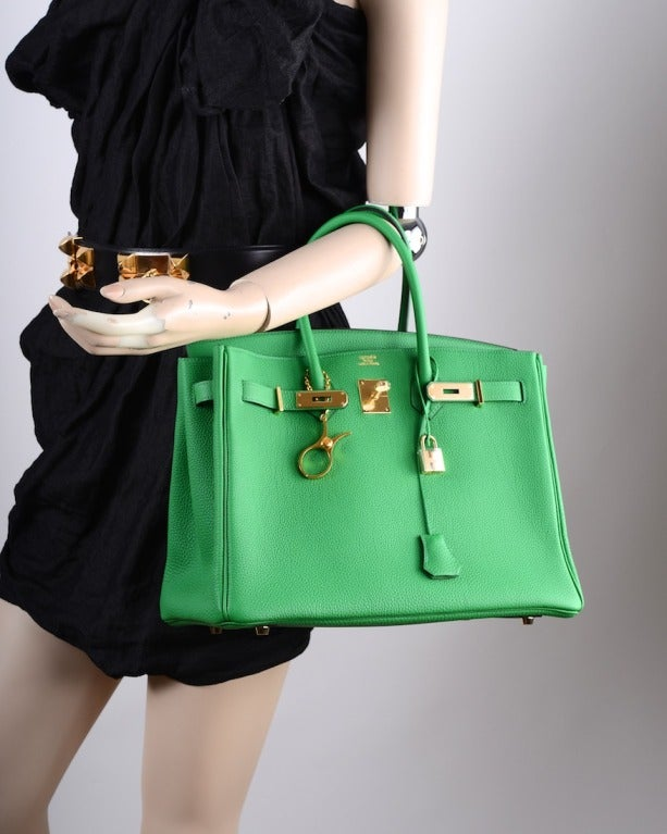 New Color Hermes Birkin Bag 35cm Bambou Green Gold