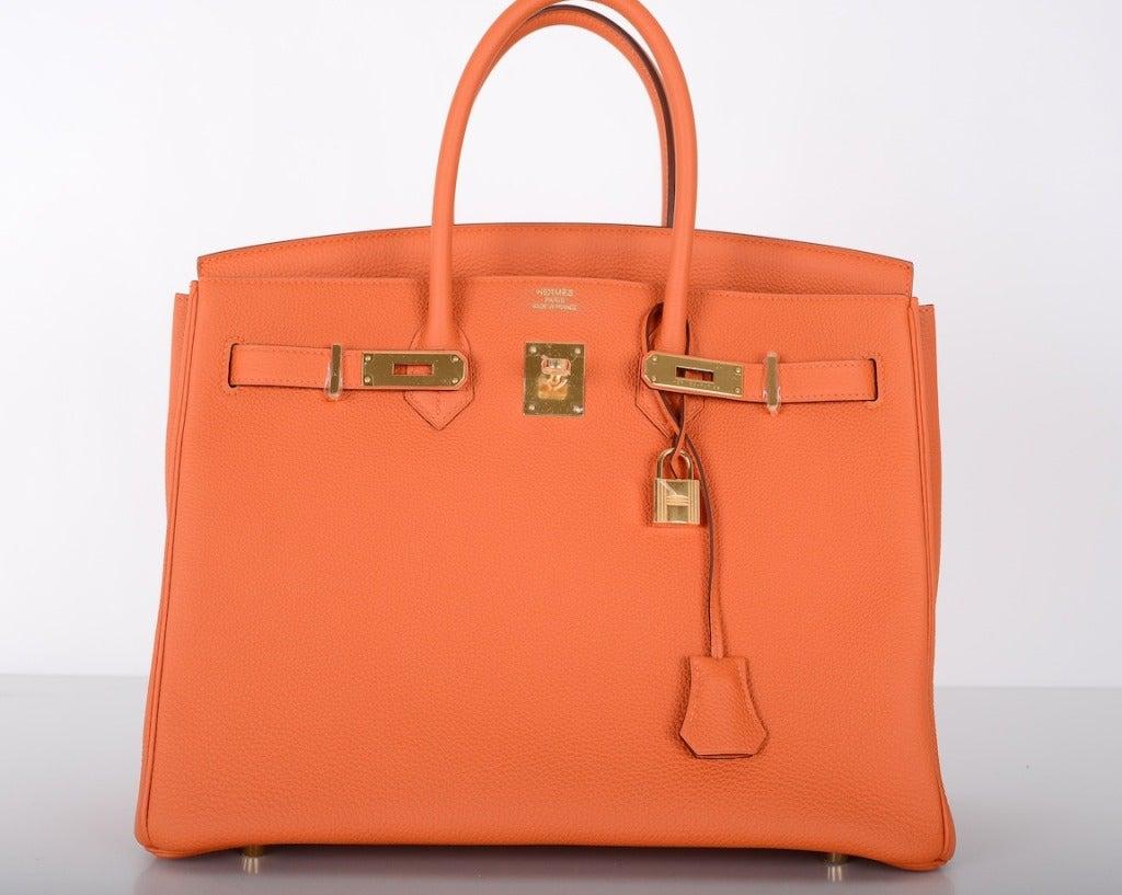 Hermes Birkin Bag 35cm Orange Fire Feu Gold Hardware Stunning! For ...