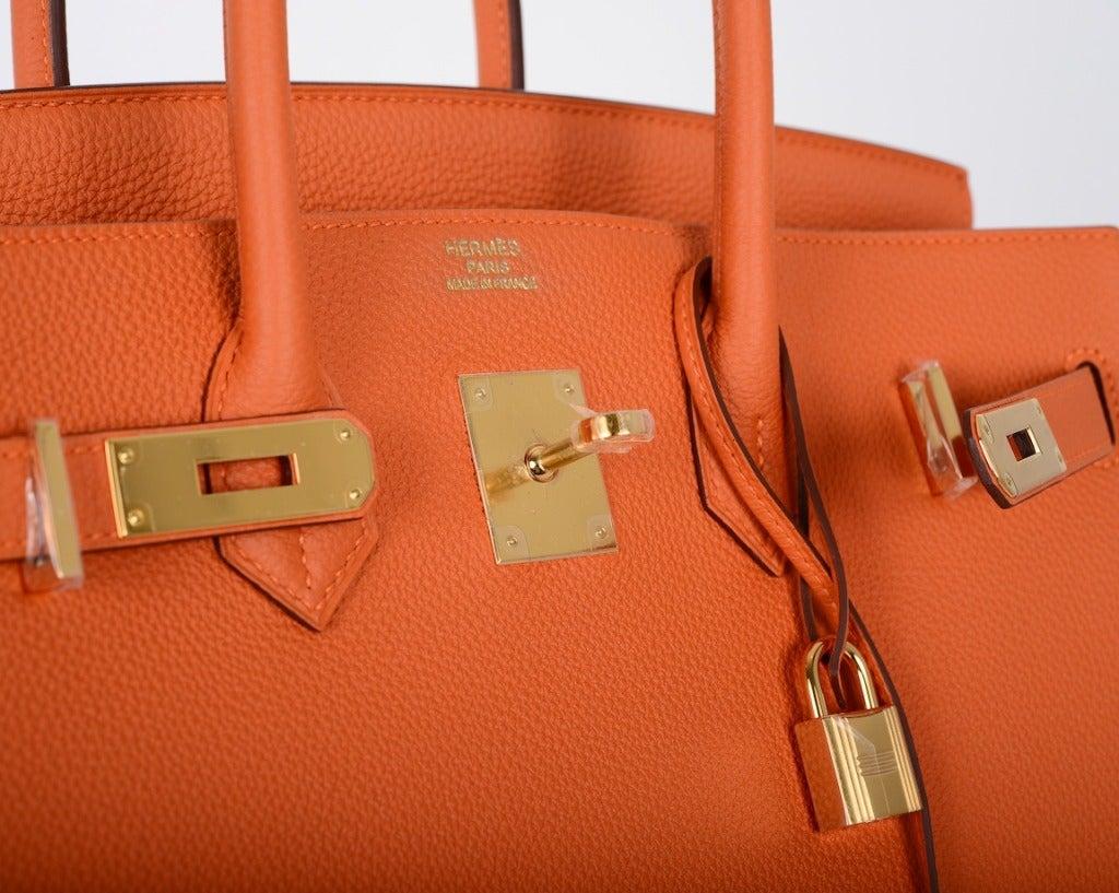 hermes birkins for sale - hermes 35cm orange feu clemence birkin bag with gold hardware