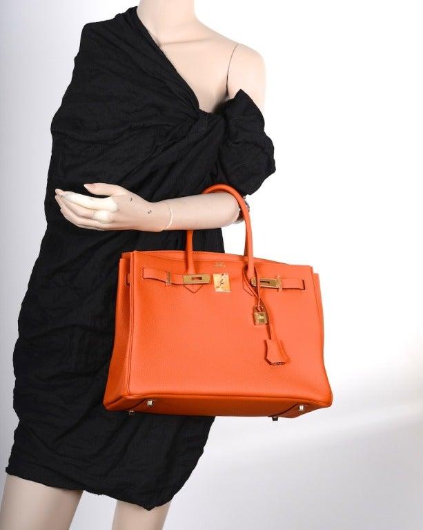 inexpensive leather handbags - hermes 35cm orange feu clemence birkin bag with gold hardware