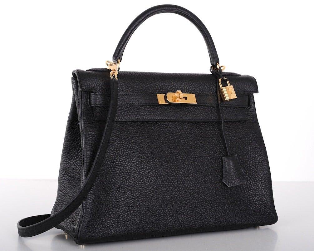 HERMES KELLY BAG 32cm BLACK WITH GOLD HARDWARE TOGO 2