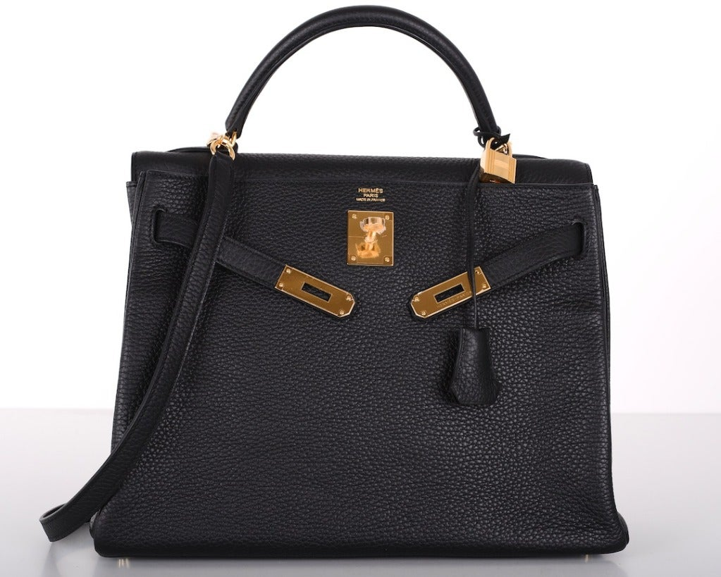 HERMES KELLY BAG 32cm BLACK WITH GOLD HARDWARE TOGO For Sale at ...