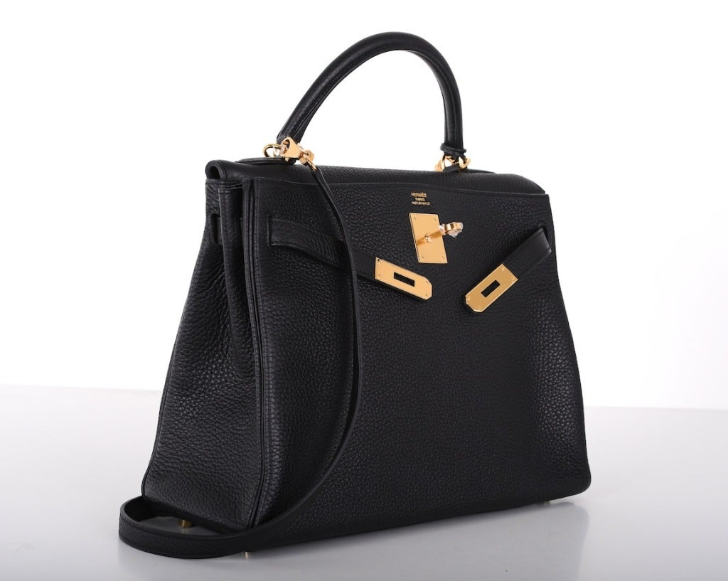 HERMES KELLY BAG 32cm BLACK WITH GOLD HARDWARE TOGO 5