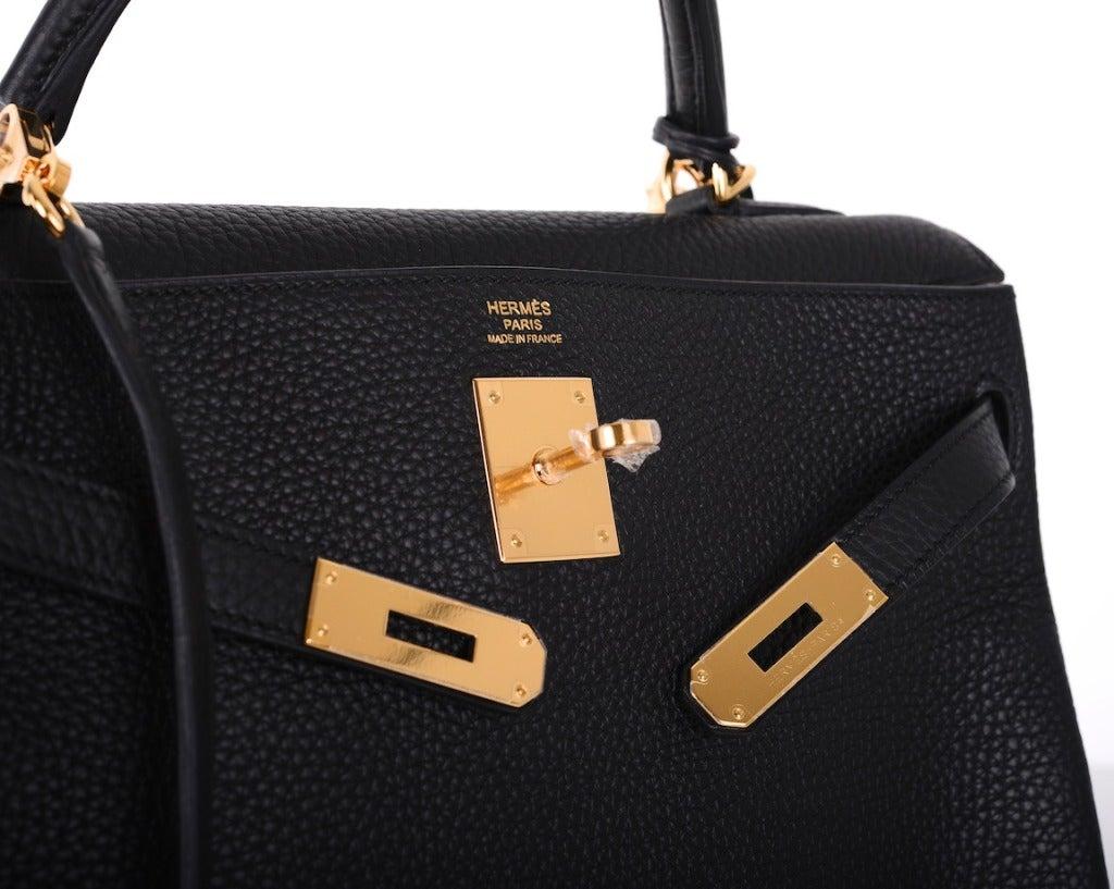 HERMES KELLY BAG 32cm BLACK WITH GOLD HARDWARE TOGO 6