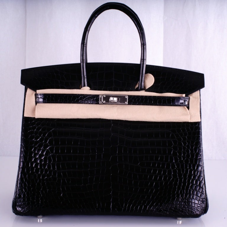 HERMES BIRKIN BAG BLACK CROCODILE POROSUS PALLADIUM HARDWARE image 2