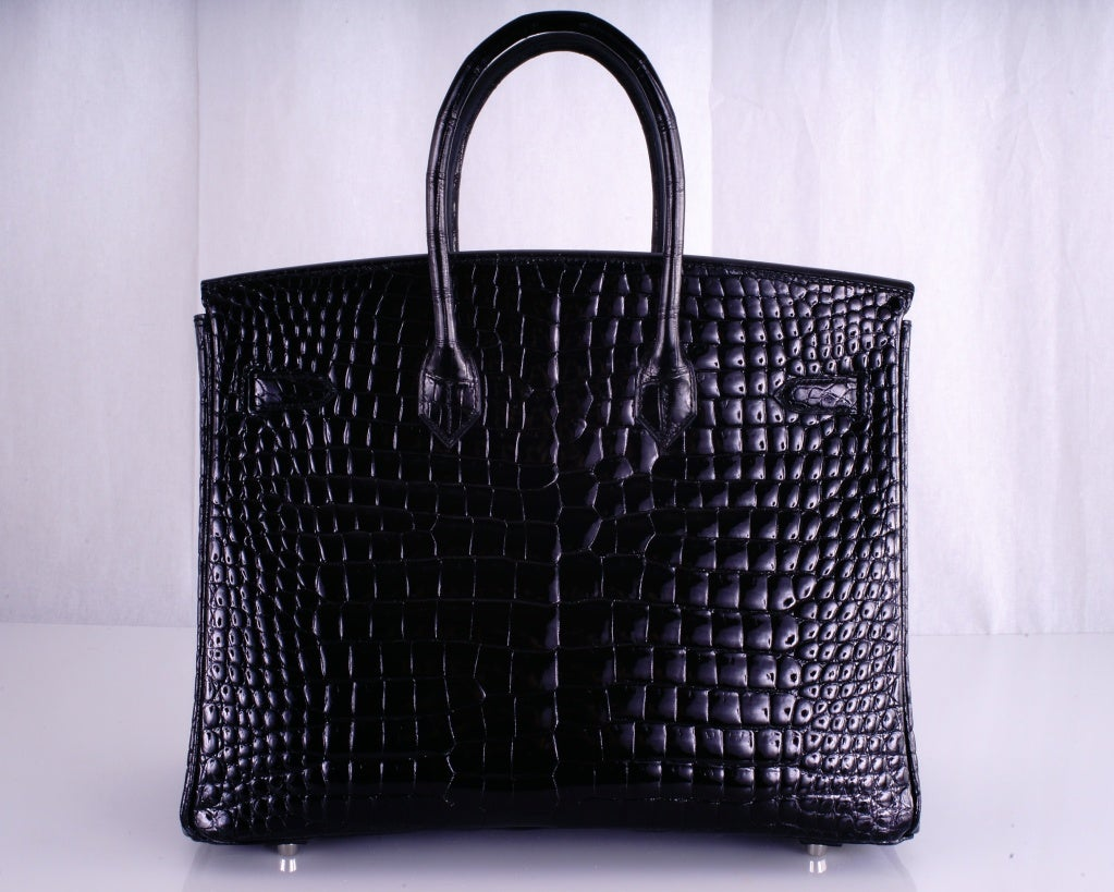 HERMES BIRKIN BAG BLACK CROCODILE POROSUS PALLADIUM HARDWARE image 4