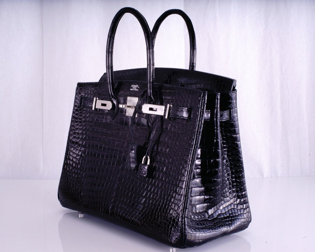 HERMES BIRKIN BAG BLACK CROCODILE POROSUS PALLADIUM HARDWARE image 5