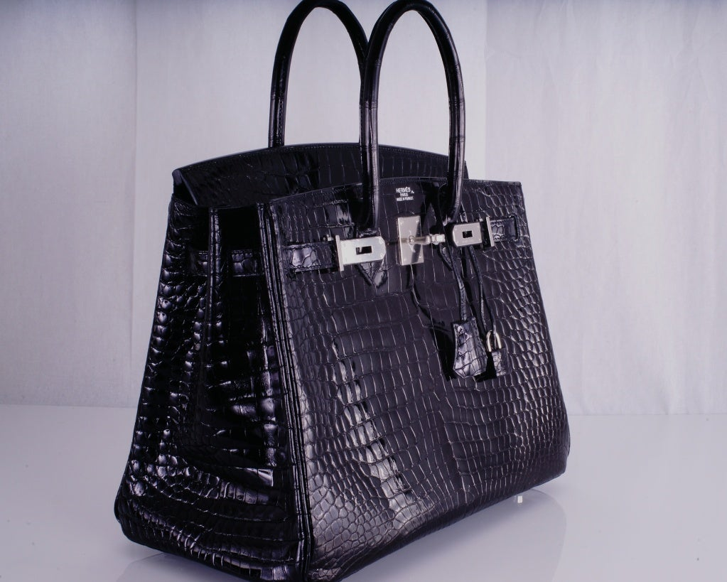 HERMES BIRKIN BAG BLACK CROCODILE POROSUS PALLADIUM HARDWARE image 6
