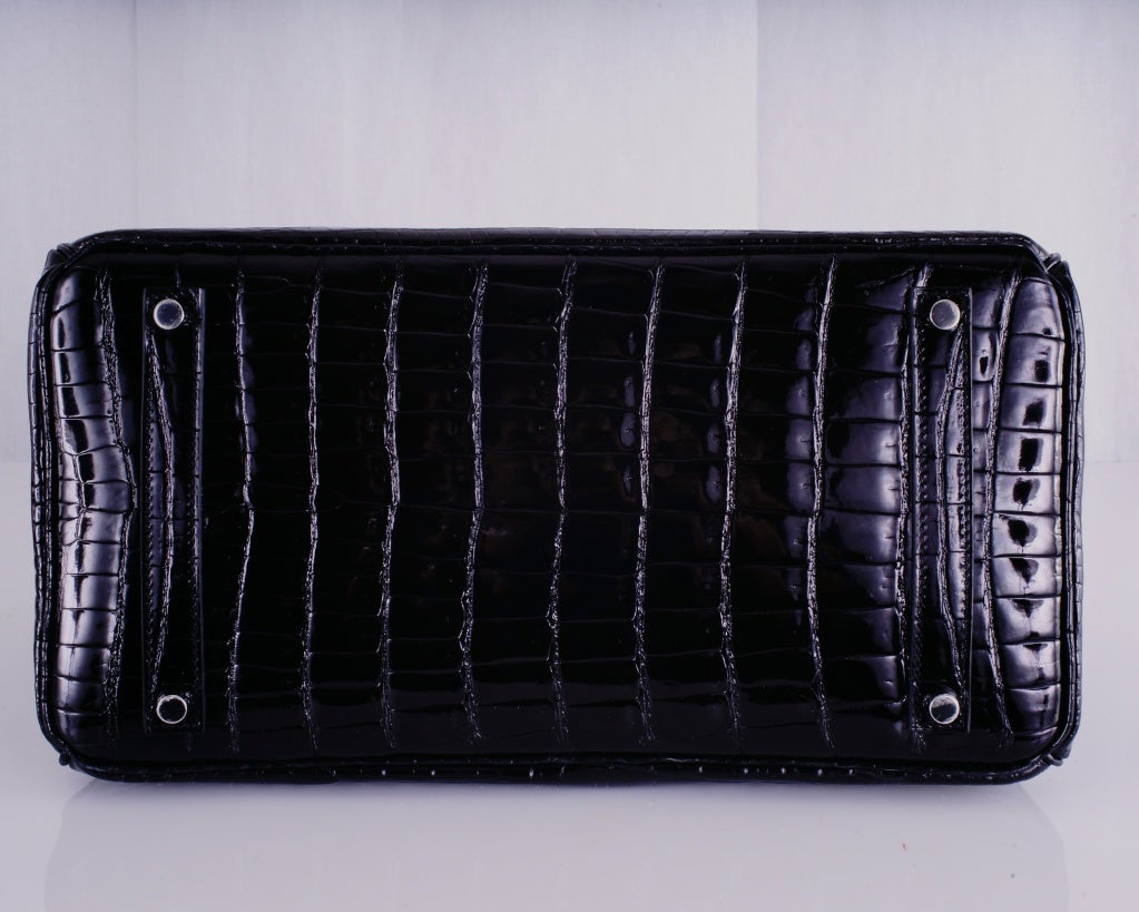 HERMES BIRKIN BAG BLACK CROCODILE POROSUS PALLADIUM HARDWARE image 7
