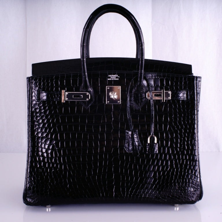 HERMES BIRKIN BAG BLACK CROCODILE POROSUS PALLADIUM HARDWARE image 10