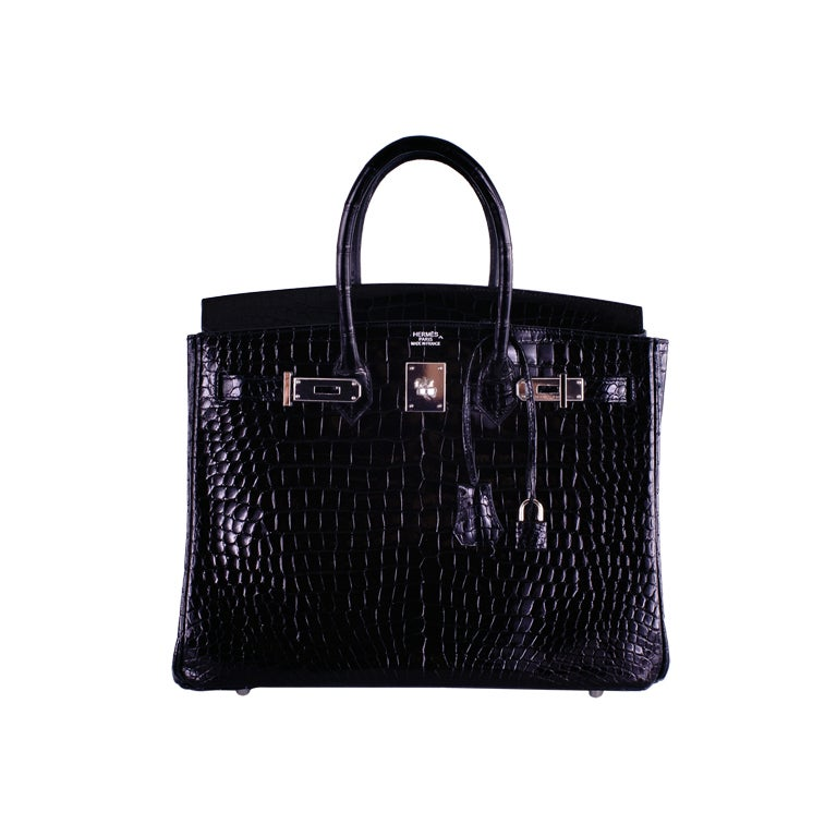 HERMES BIRKIN BAG BLACK CROCODILE POROSUS PALLADIUM HARDWARE