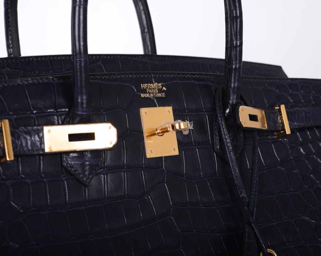 HERMES BIRKIN BAG 40cm BLUE INDIGO MATTE CROC POROSUS GOLD ...