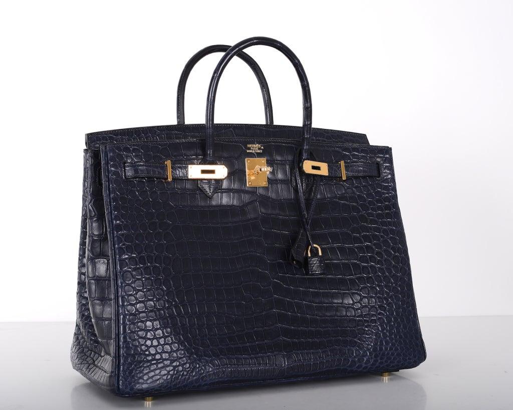 handbags hermes outlet - HERMES BIRKIN BAG 40cm BLUE INDIGO MATTE CROC POROSUS GOLD ...