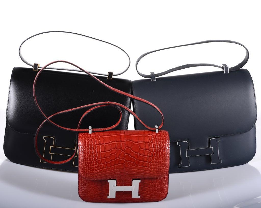 HERMES CONSTANCE BAG ALLIGATOR 18cm ROUGE H WITH PALL HARDWARE ...