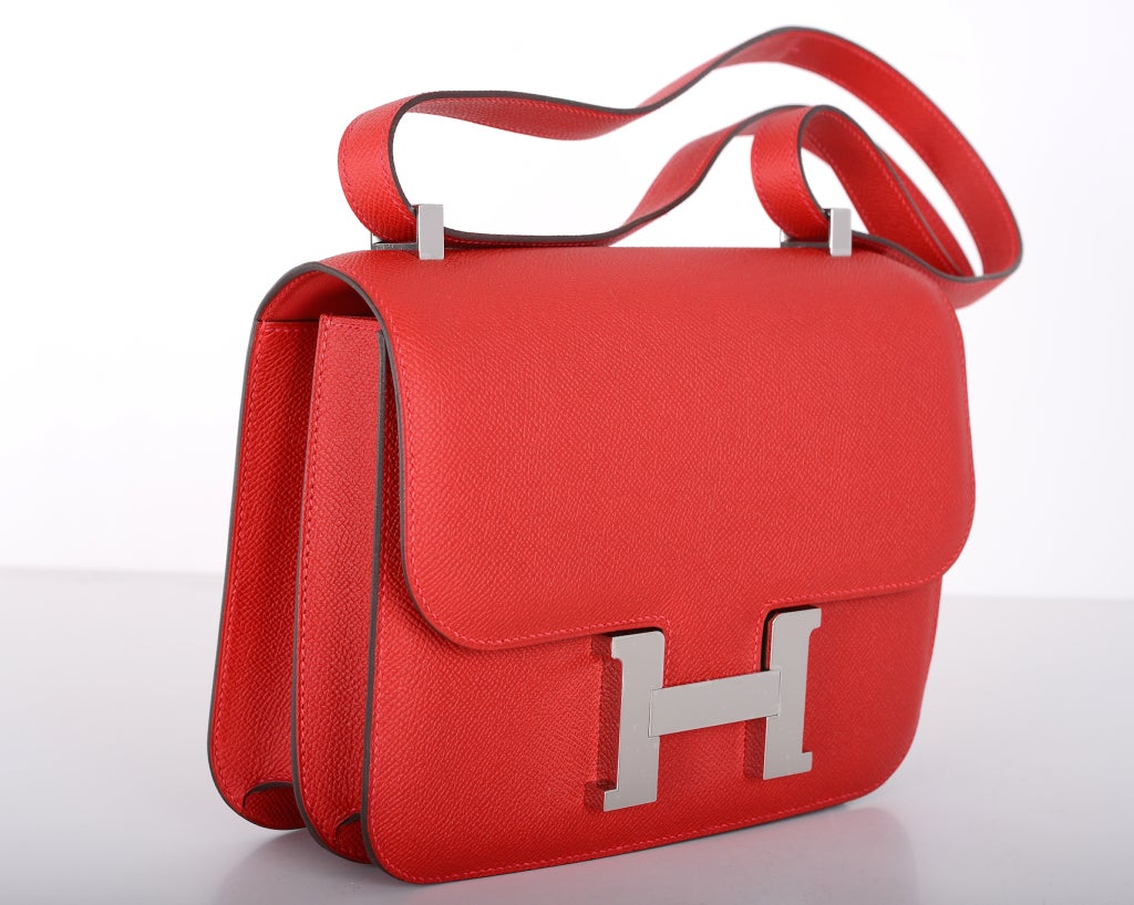 RARE FIND HERMES CONSTANCE BAG 23cm DOUBLE GUSSET ROUGE CASAQUE ...