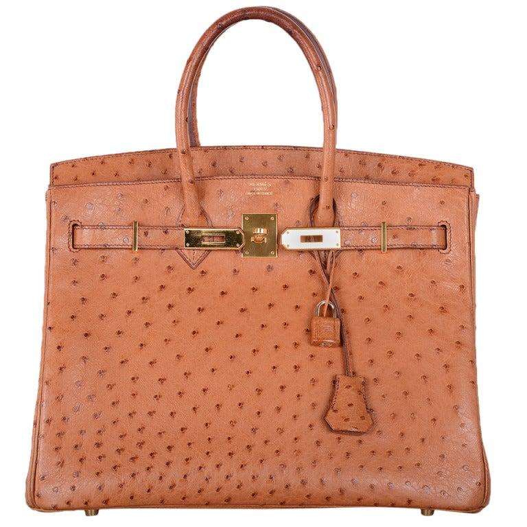 original hermes birkin bag price - Hermes Birkin 35cm Ostrich Leather Bag Yellow Gold