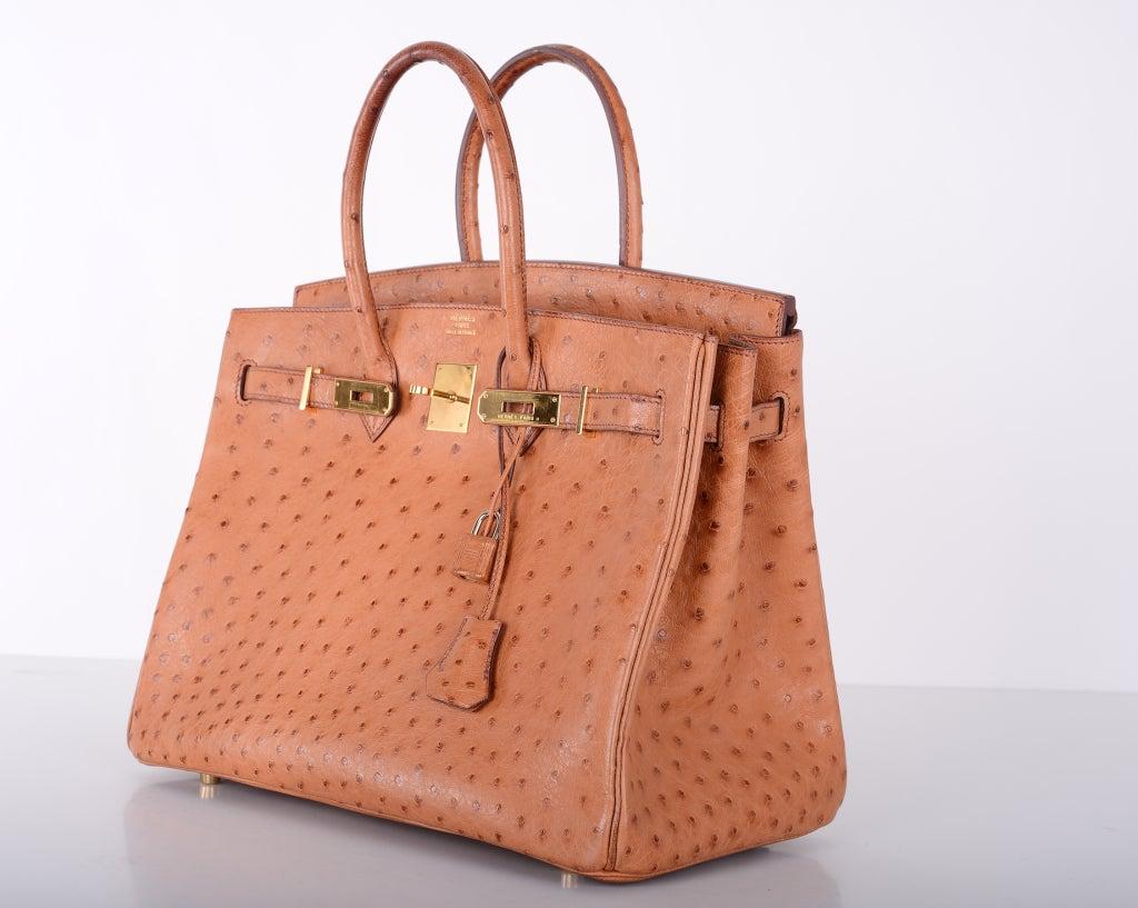 CLASSIC CHIC HERMES BIRKIN BAG 35cm OSTRICH COGNAC GOLD IMPOSSIBLE ...