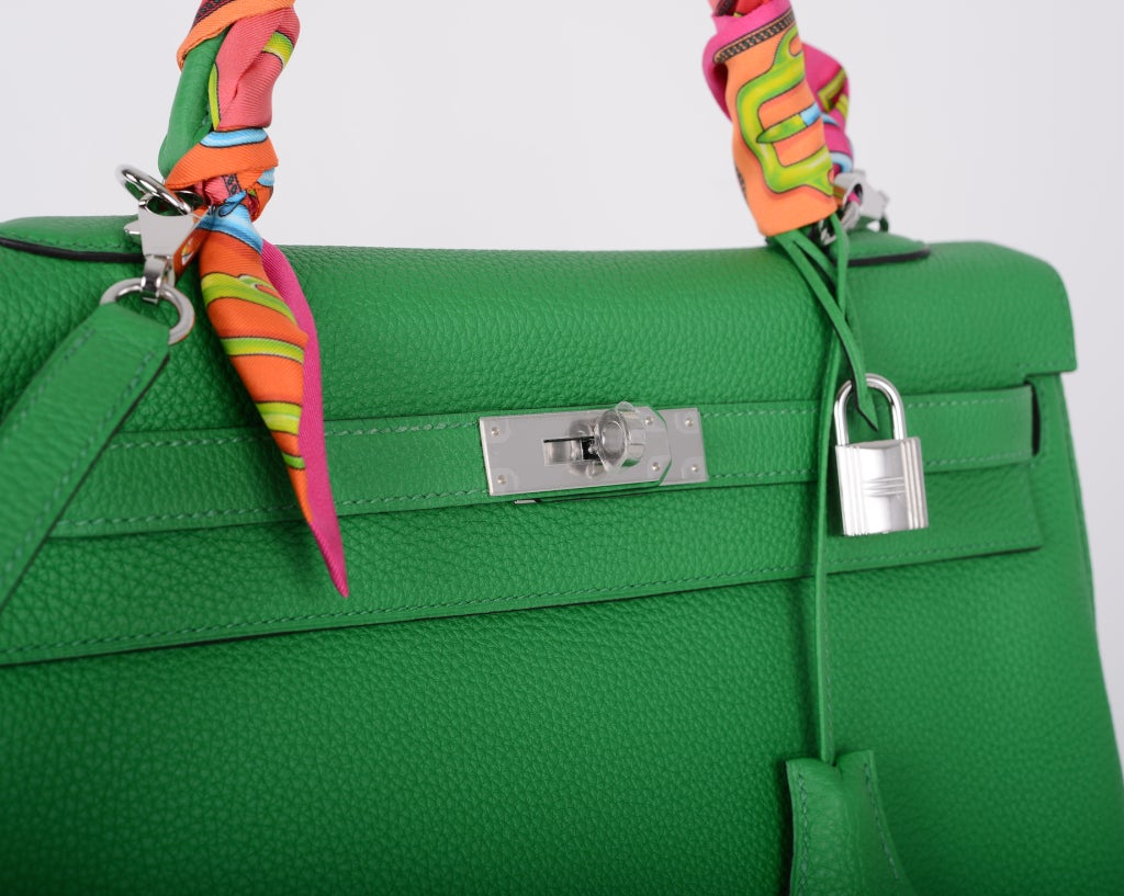 New Color Hermes Kelly Bag 35cm Bambou Green Palladium Hardware At 1stdibs