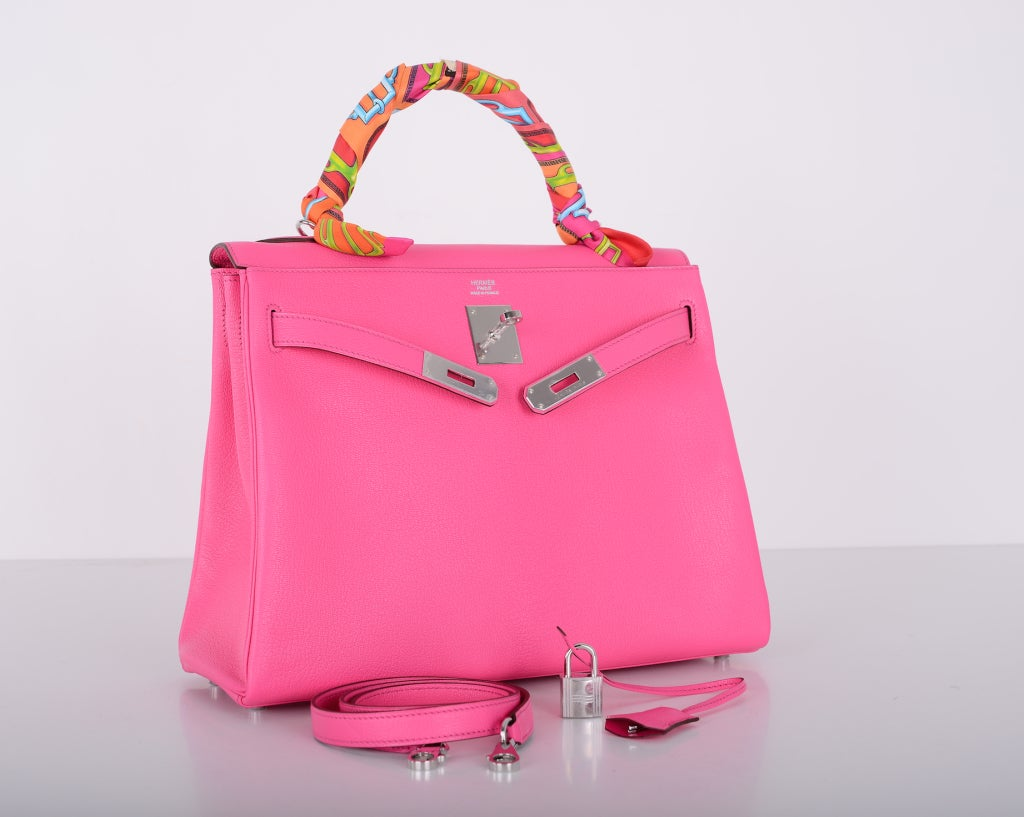 VERY SPECIAL HERMES KELLY BAG 32cm ROSE TYRIEN CHEVRE LEATHER at ...
