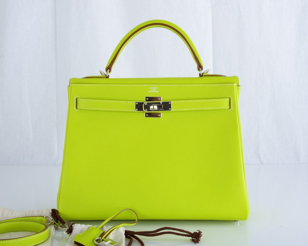 HERMES KELLY 32CM BAG CANDY KIWI LICHEN 2 TONE EPSOM IT'S HERE image 2