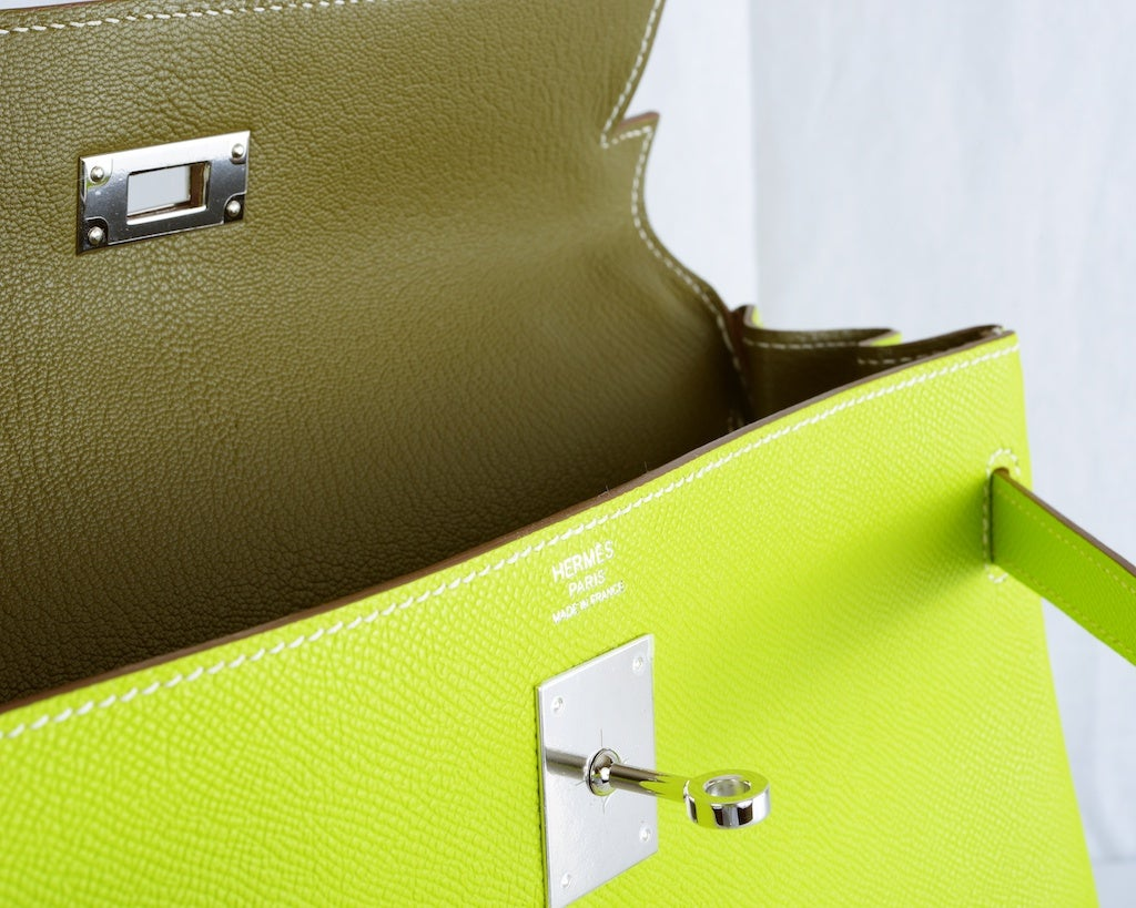 HERMES KELLY 32CM BAG CANDY KIWI LICHEN 2 TONE EPSOM IT'S HERE image 3