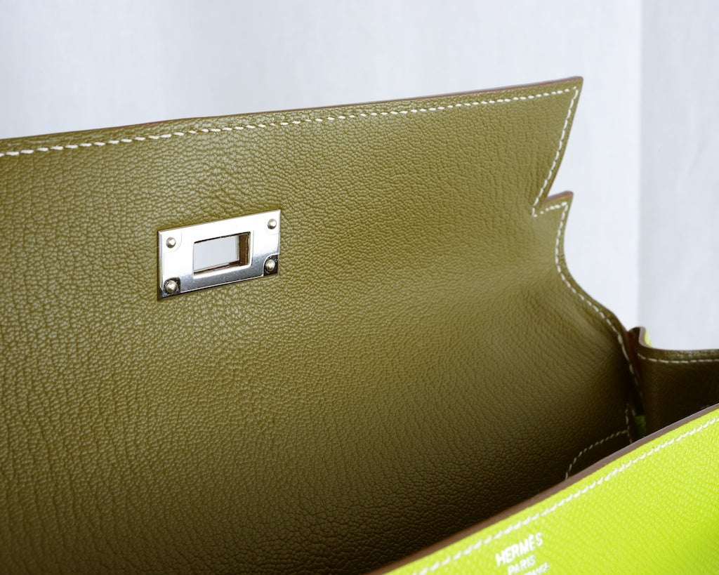 HERMES KELLY 32CM BAG CANDY KIWI LICHEN 2 TONE EPSOM IT'S HERE image 4