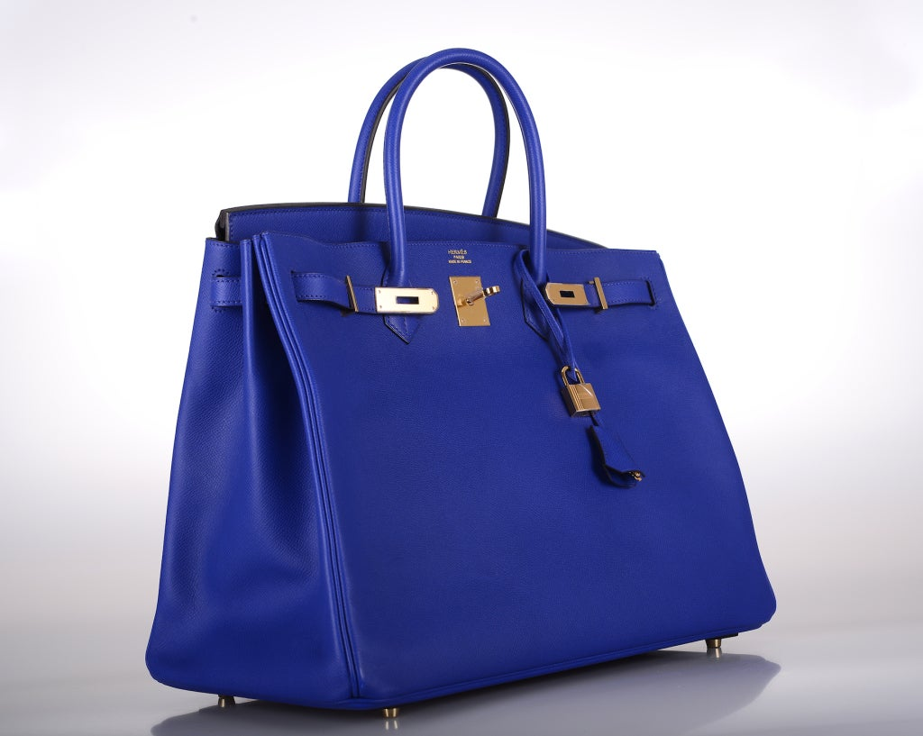 Must C HERMES BIRKIN BAG 40 CM BLUE ELECTRIC EPSOM GOLD HARDWARE ...