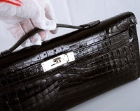 HERMES CROCODILE BAG KELLY CUT CLUTCH POCHETTE BLACK PALL HW thumbnail 6