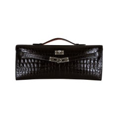 HERMES CROCODILE BAG KELLY CUT CLUTCH POCHETTE BLACK PALL HW