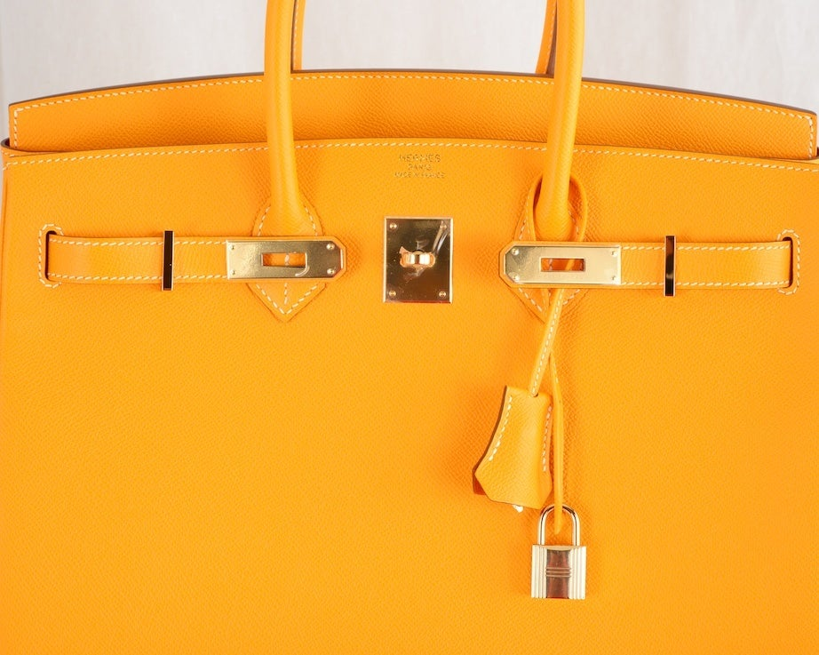 NEW CANDY COLLECTION HERMES BIRKIN BAG JAUNE POTIRON PERMABRASS image 2