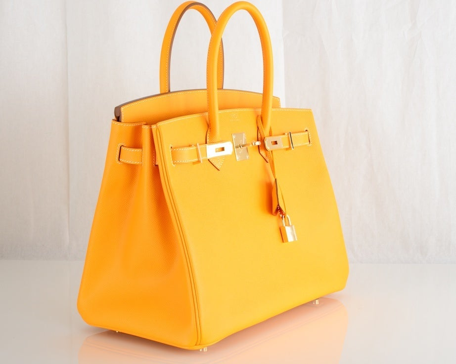 NEW CANDY COLLECTION HERMES BIRKIN BAG JAUNE POTIRON PERMABRASS image 4