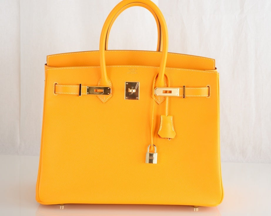 NEW CANDY COLLECTION HERMES BIRKIN BAG JAUNE POTIRON PERMABRASS image 8