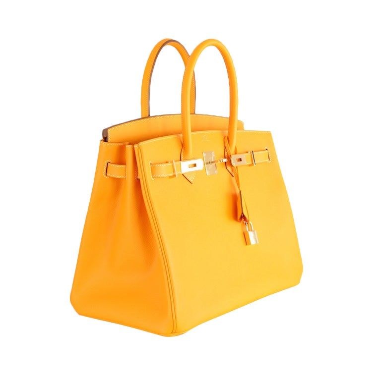NEW CANDY COLLECTION HERMES BIRKIN BAG JAUNE POTIRON PERMABRASS
