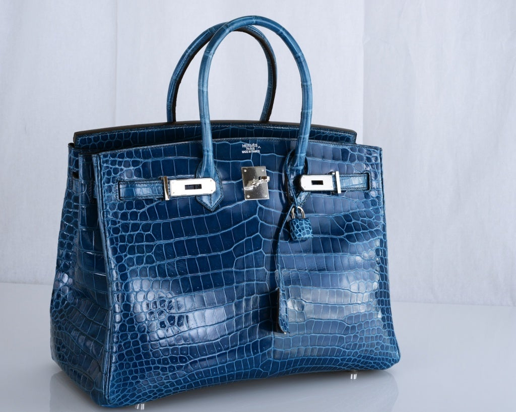 MY BEAUTY! HERMES BIRKIN BAG 35cm BLUE ROI CROCODILE PHW PORO at ...