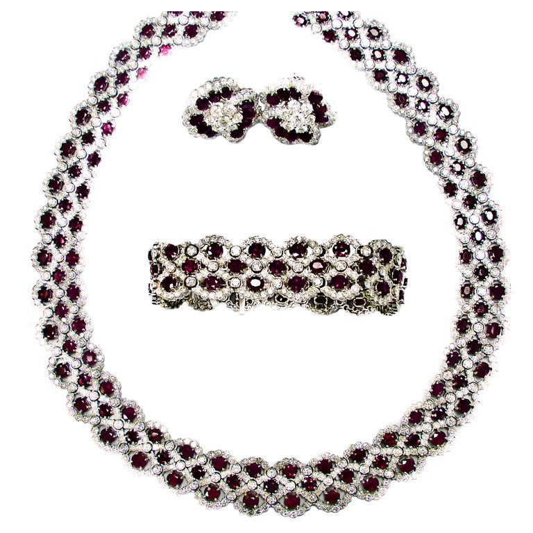 Stunning 3 pc. Rubies and Diamonds Set