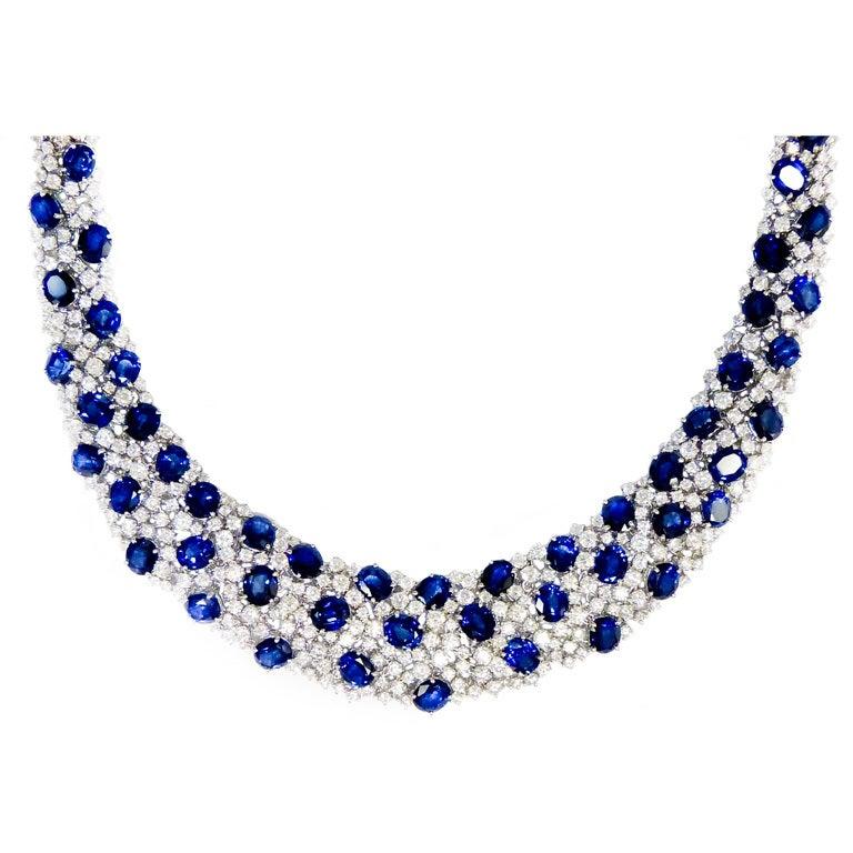Elegant Sapphire and Diamond Necklace 1
