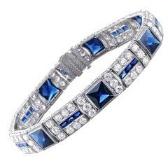 Elegant Art Deco Sapphire Diamond Platinum Bracelet