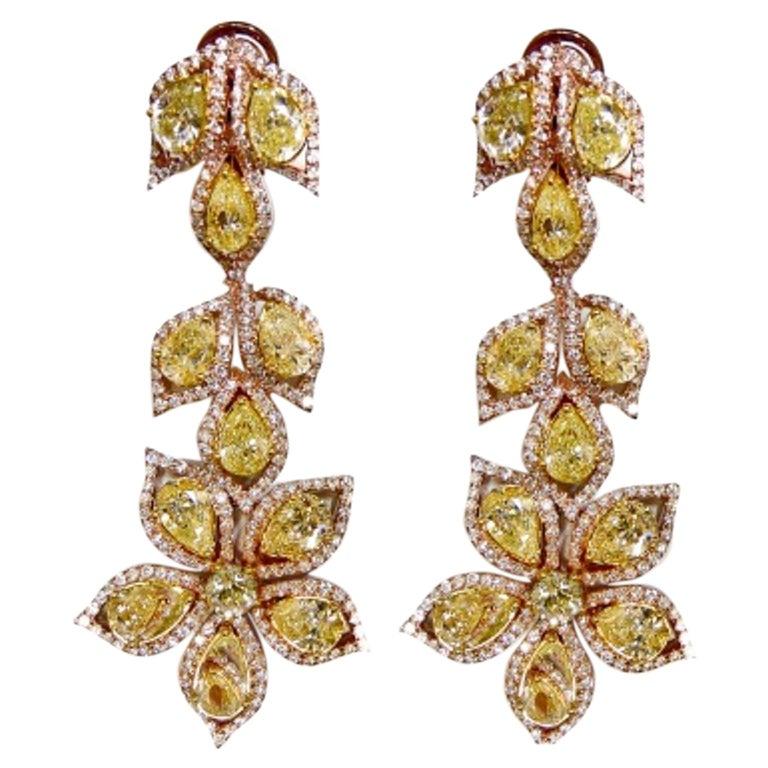 Important Fancy Yellow Diamond Earrings