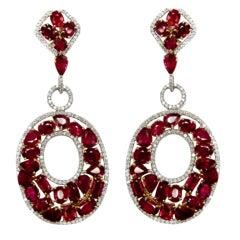 Burmese Rubies and DIamond Earrings