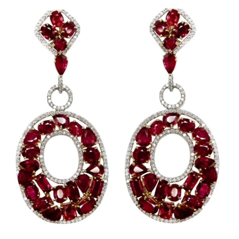 Burmese Rubies and DIamond Earrings 1