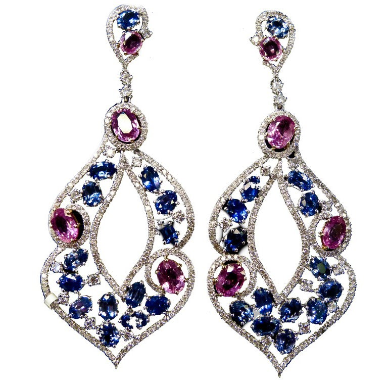 Combination Of Pink And Blue Sapphires For Sale At 1stdibs