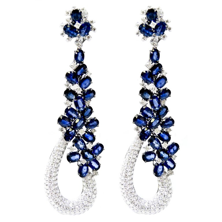 Sapphire And Diamond Quot Goldiva Quot Earrings At 1stdibs