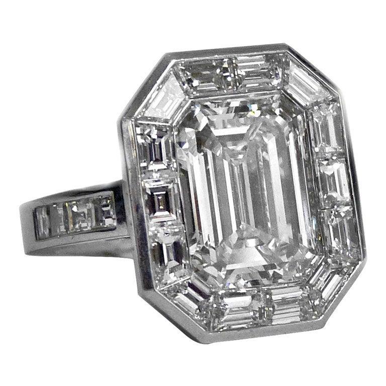 Emerald Shape 4.14.carat  Diamond Ring 1
