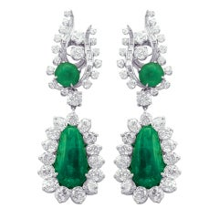 Very Fine Emerald Diamond Earrings