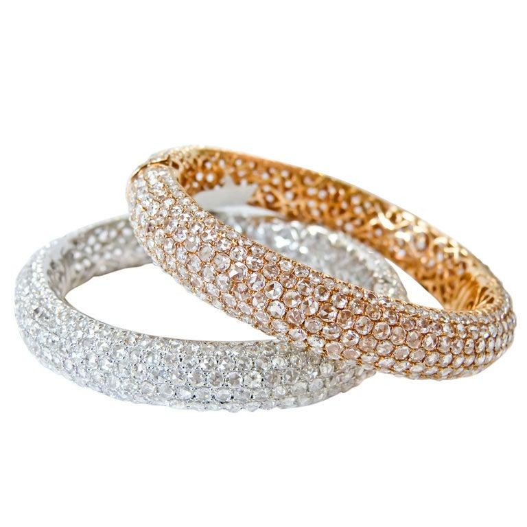Incredible Pink and White Diamond Gold Bangles 1
