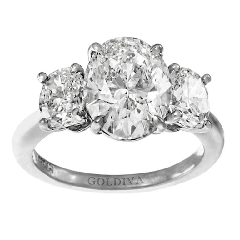 Oval Diamond Three Stone 3 26 Carat GIA Ring For Sale at 1stdibs