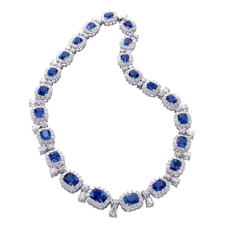 Natural Unheated Sapphire Diamond Necklace