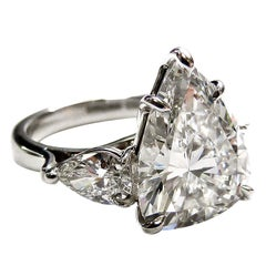 Important 5.82 Carat Pear Shape Diamond Ring