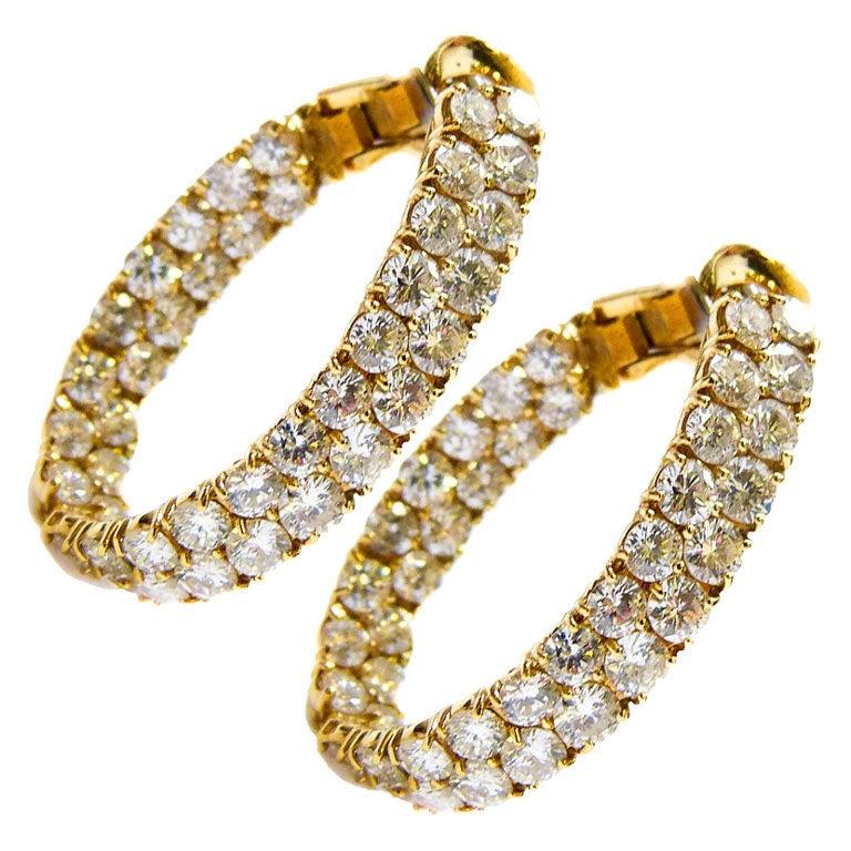 Vinatge Diamond Hoop Earrings.