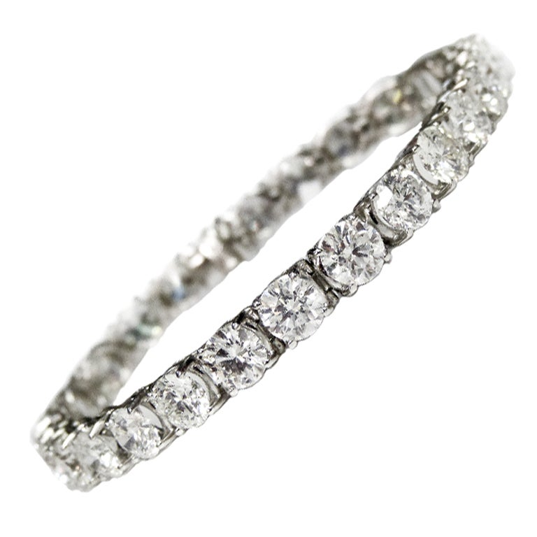 Important 21 15 Carat Diamond Tennis Bracelet For Sale At